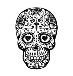 day of the dead skull sketch vector image