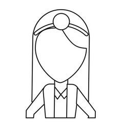 Doctor female with head mirror and coat thin line vector