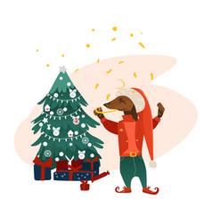 Dog character near christmas tree vector