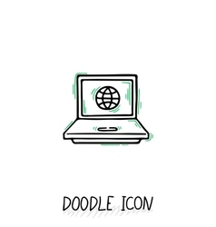 Doodle Laptop Icon Netbook vector image