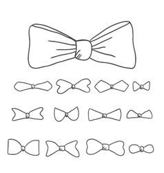 Doodle set tie butterflies vector