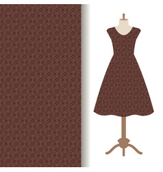 Dress fabric with abstract brown pattern vector