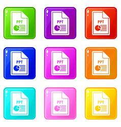 File ppt icons 9 set vector