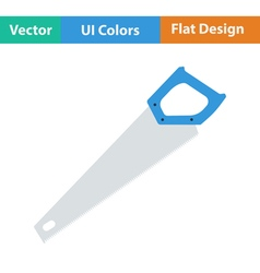 Flat design icon of hand saw vector image