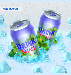 fresh ice drink background with ice cubes vector image