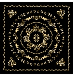 Gold bandana silk scarf vector