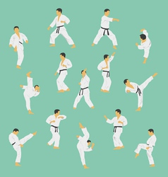 Group of the men showing karate vector image vector image
