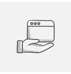 Hand holding browser window sketch icon vector image vector image
