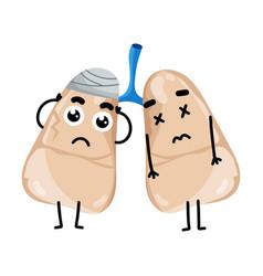 Human Sick Lungs Cartoon Character Vector
