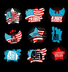 Independence day set sign in grunge style star and vector
