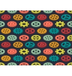 Isometric colored gears seamless pattern vector image