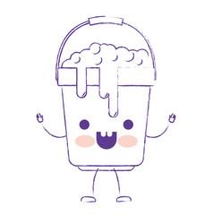 kawaii cartoon bucket with handle and full of vector image