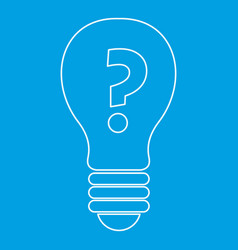 Light bulb with question mark inside icon outline vector