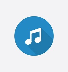 music Flat Blue Simple Icon with long shadow vector image