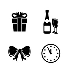 New year simple related icons vector
