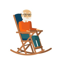 Old man sitting in rocking chair vector image