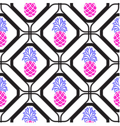 Pineapples in rhombuses geometric seamless tile vector
