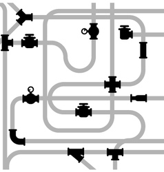 Pipeline junctions with valves and stopcock vector