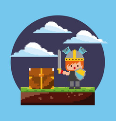 pixel game arcade level knight character with vector image