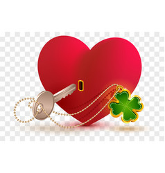 red heart shaped lock and key with lucky leaf vector image