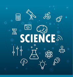 Science concept different thin line icons included vector