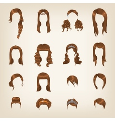 Set of female brown hair vector