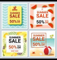 Set of summer sale template banner 2 vector image