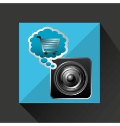 Shiny shopping cart sound speaker online commerce vector
