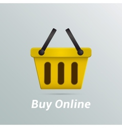 Shopping basket buy now online vector