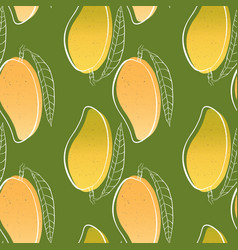 tropical seamless pattern with mango fruit vector image vector image