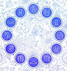 Watercolor zodiac signs set vector image