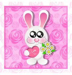Wedding card with cute cartoon rabbits in love vector