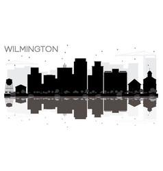 Wilmington city skyline black and white vector