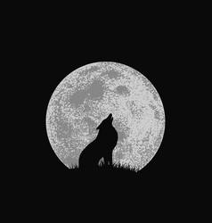 Wolf howling to full moon vector