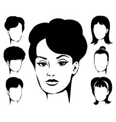 Woman haircut emblem set vector