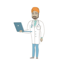 Young indian doctor using a laptop vector