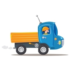 Funny worker in small nice truck vector