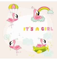 Baby Flamingo Set - Baby Shower or Arrival Card vector image