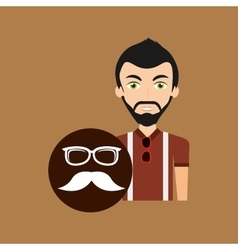 hipster style character glasses and fashion vector image