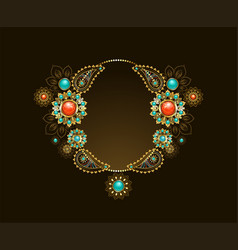 Frame with ethnic gold jewelry vector