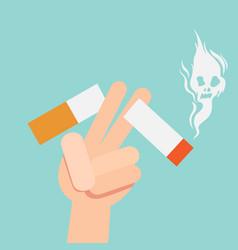 Cut a cigarettesconcept for anti smoking vector
