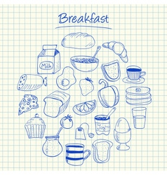 Breakfast doodles squared paper vector