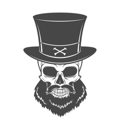 Outlaw skull with beard and high hat portrait vector