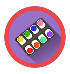 Modern flat icon with watercolor set and shadow vector