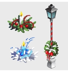 Classic street lamp and christmas decorations vector