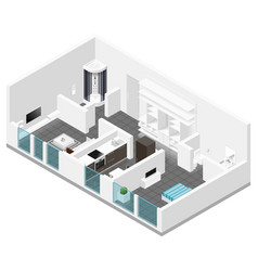 Residential apartment isometric icon set vector
