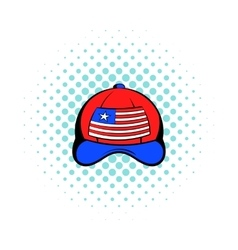Baseball in the usa flag colors icon comics style vector