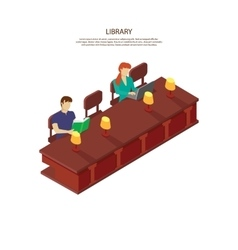 People read for the library table vector