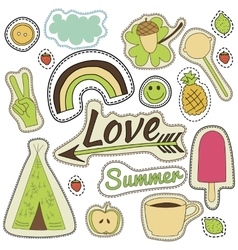 Happy embroidery colorful summer patches vector