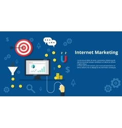 Internet marketing banner flat design vector